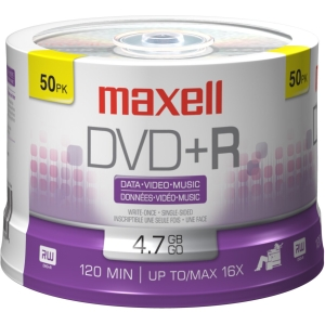 Buy Maxell 50PK 4.7GB 16X DVD+R Spindle from Maxell